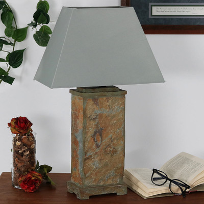 Sunnydaze Indoor Outdoor Natural Slate Table Lamp 24 Inch