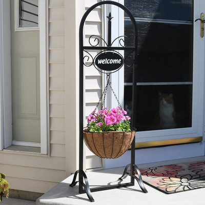 Sunnydaze Outdoor Decorative Welcome Sign with Hanging ... on Hanging Plant Stand  id=54441