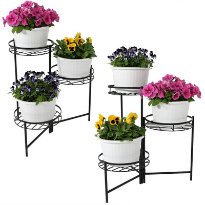 Sunnydaze Black Three Tiered Planter Stand 22 Inch Tall Set Of Two