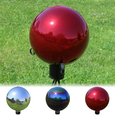 Sunnydaze 10 Inch Glass Gazing Globe Ball With Mirrored