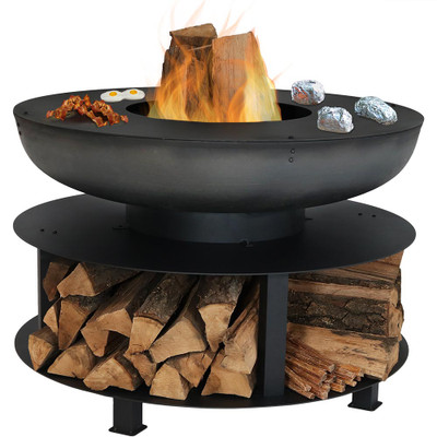 Sunnydaze 40 Inch Fire Pit With Cooking Ledge And Wood