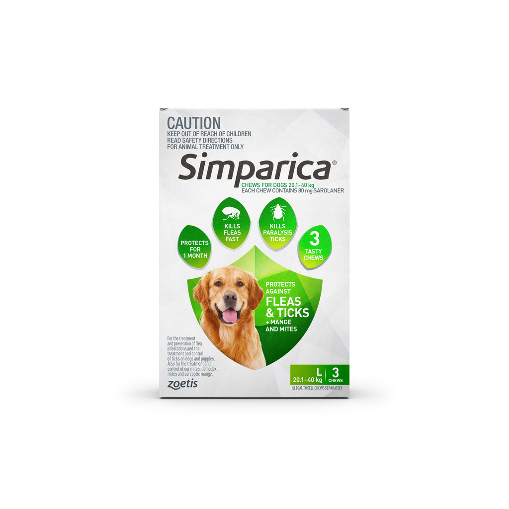 Simparica For Large Dogs  20.1- 40kg - 3 Chews