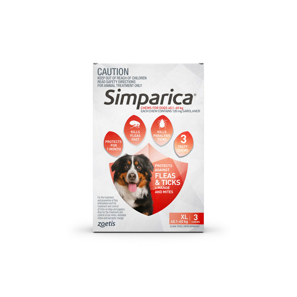 Simparica For Extra Large Dogs  40.1- 60kg - 3 Chews