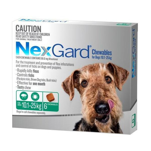 NexGard for Dogs 10.1-25kg - Green 6 Pack