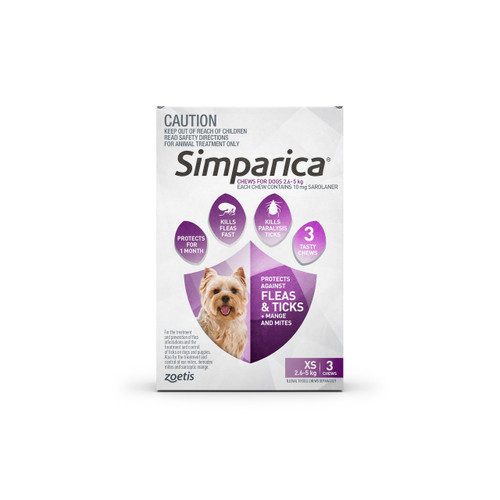Simparica For Small Dogs & Puppies 2.6-5kg - 3 Chews