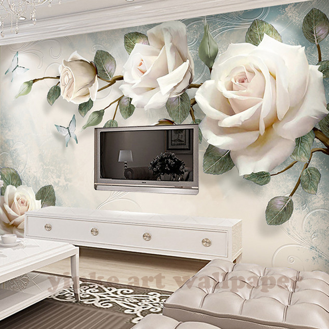 Custom photo wallpaper painting 3d white rose flowers wall murals custom photo wallpaper painting 3d white rose flowers wall murals living room tv sofa backdrop wall mightylinksfo