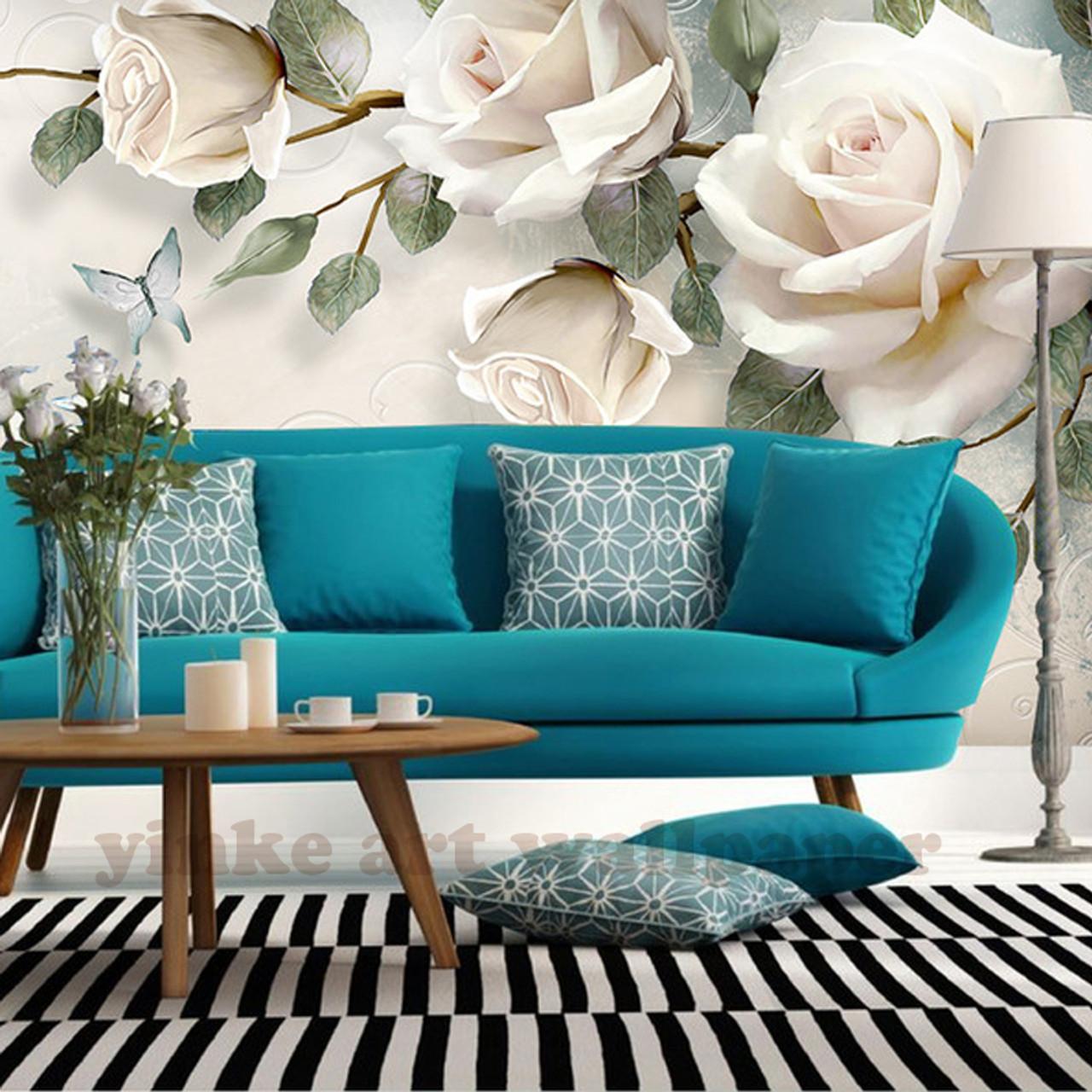 Custom Photo Wallpaper painting 3D white rose Flowers Wall Murals ...