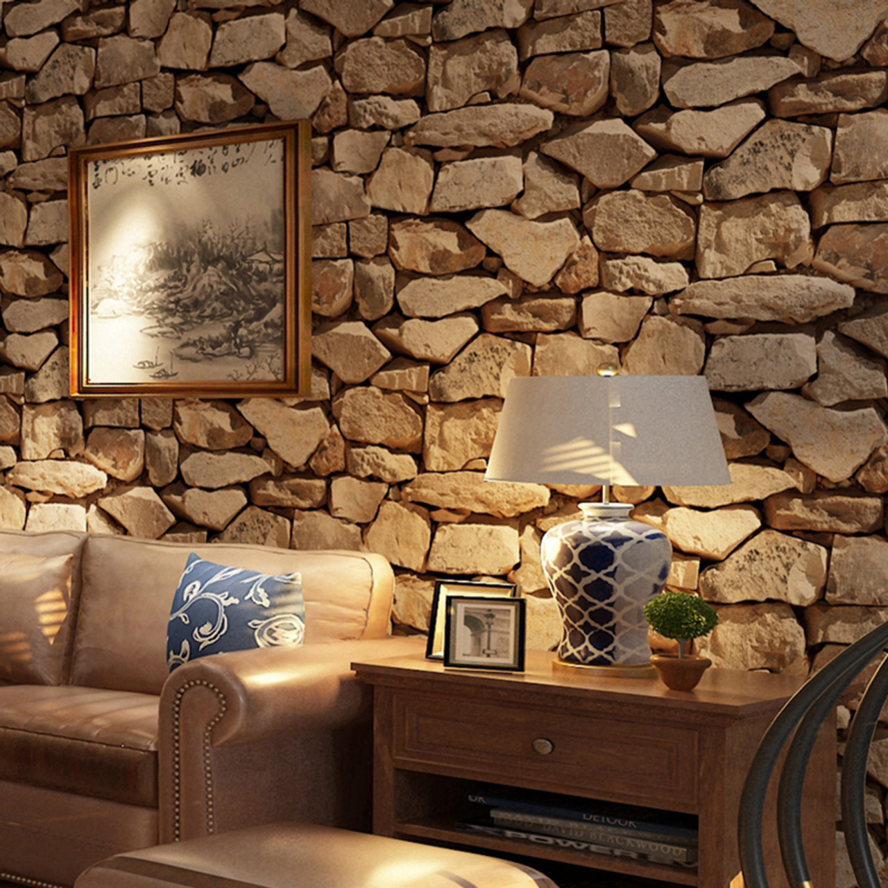 ... Vintage Wall Paper Waterproof Wall Papers Home Decor 3D Imitation Rock  Stone Vinyl Wallpaper For Walls ...