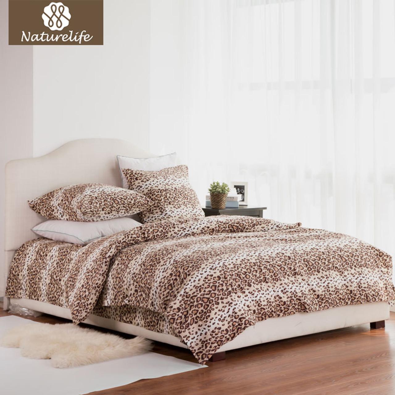 Naturelife 100% Cotton Bedding Set Leopard Duvet Cover Sets Soft Bed Linen  Flat Bed Sheet ...