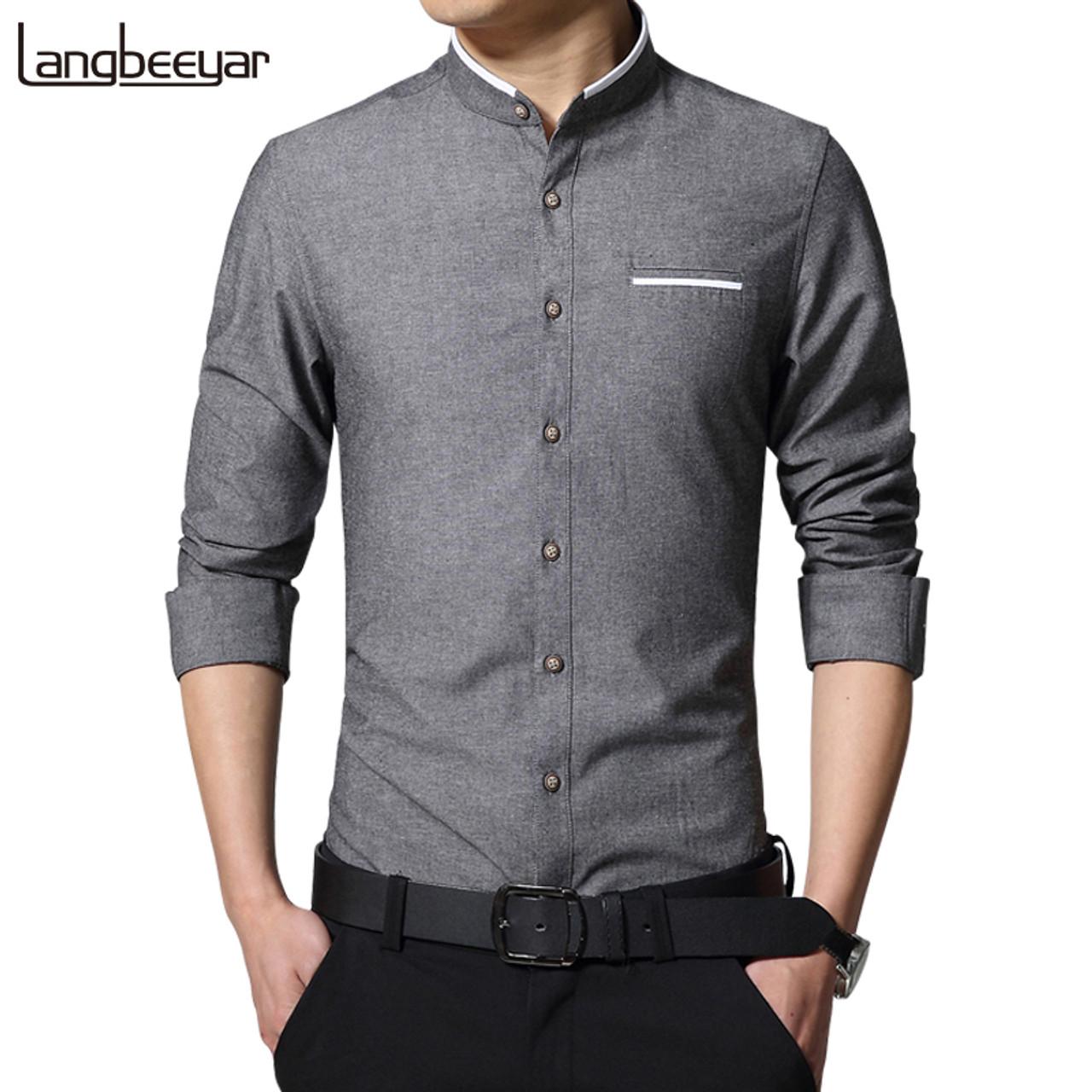 New Fashion Casual Men Shirt Long Sleeve Mandarin Collar