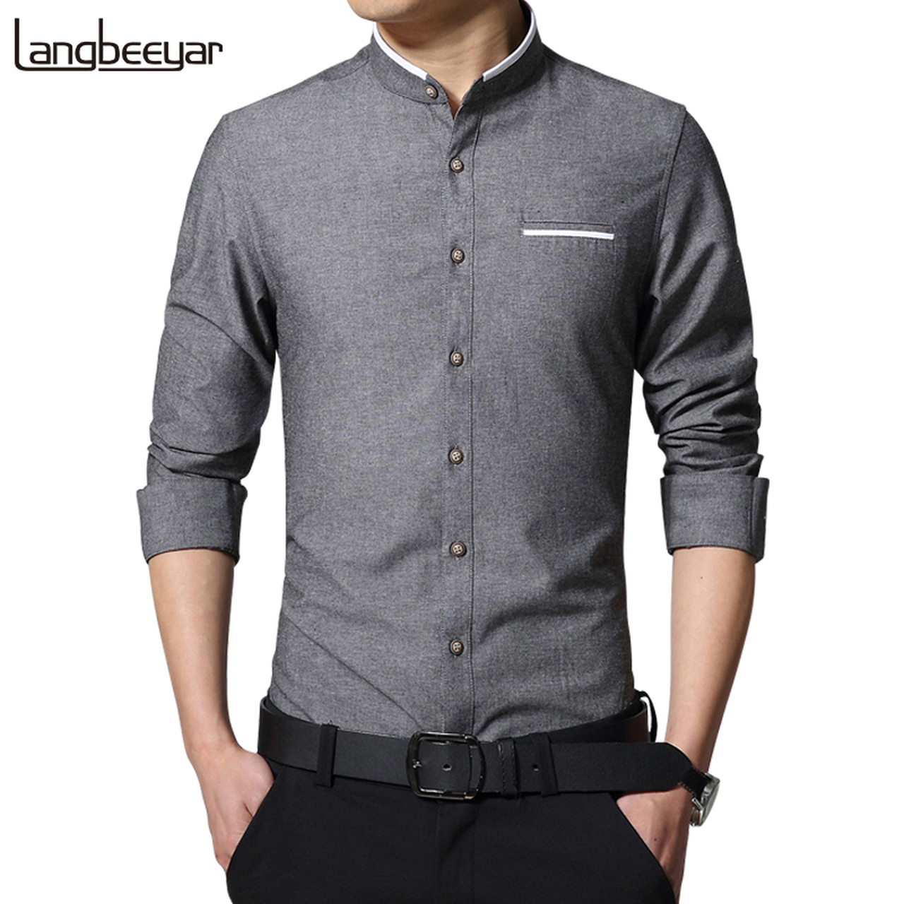 New Fashion Casual Men Shirt Long Sleeve Mandarin Collar ...