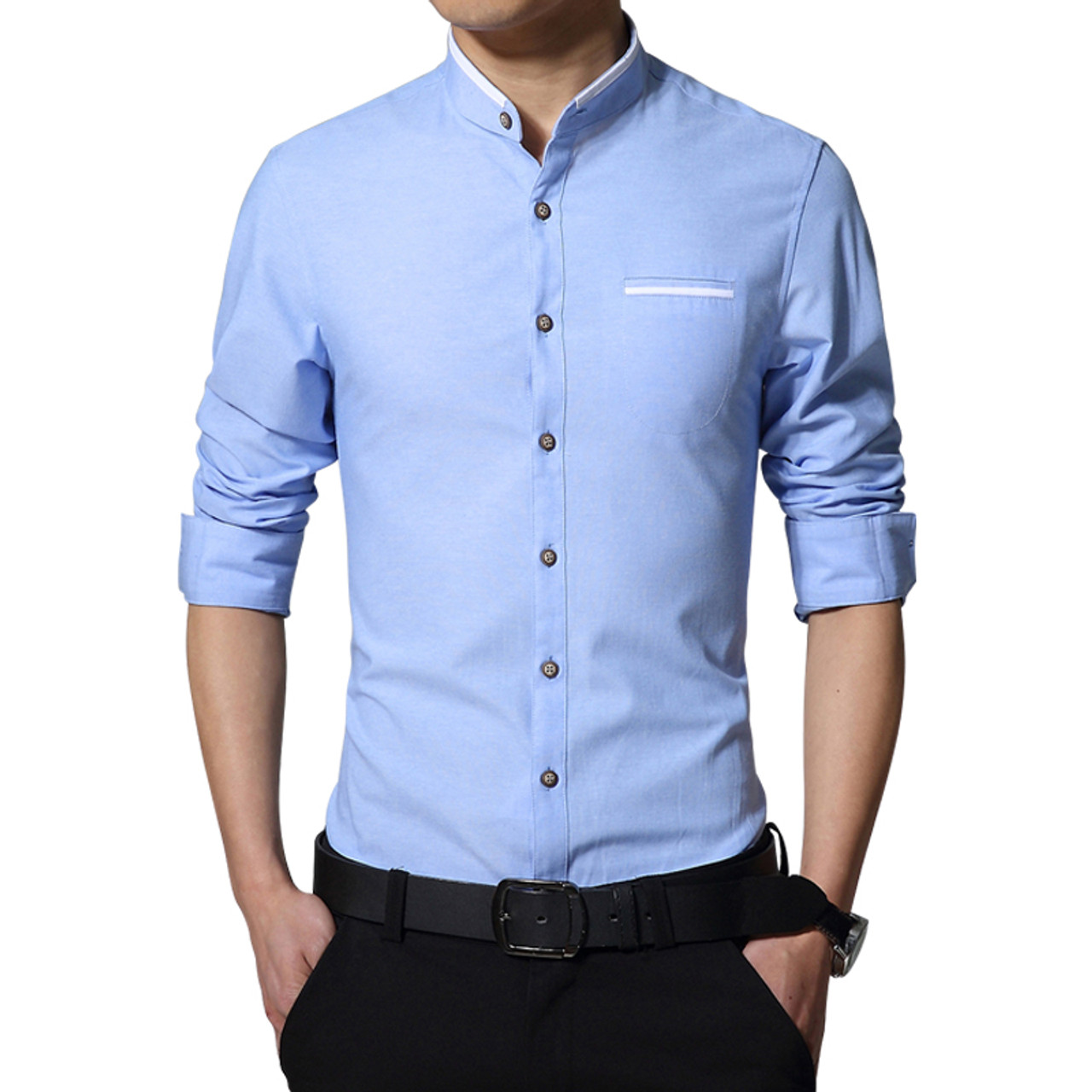 New fashion casual men shirt long sleeve mandarin collar for Mens dress shirts outlet