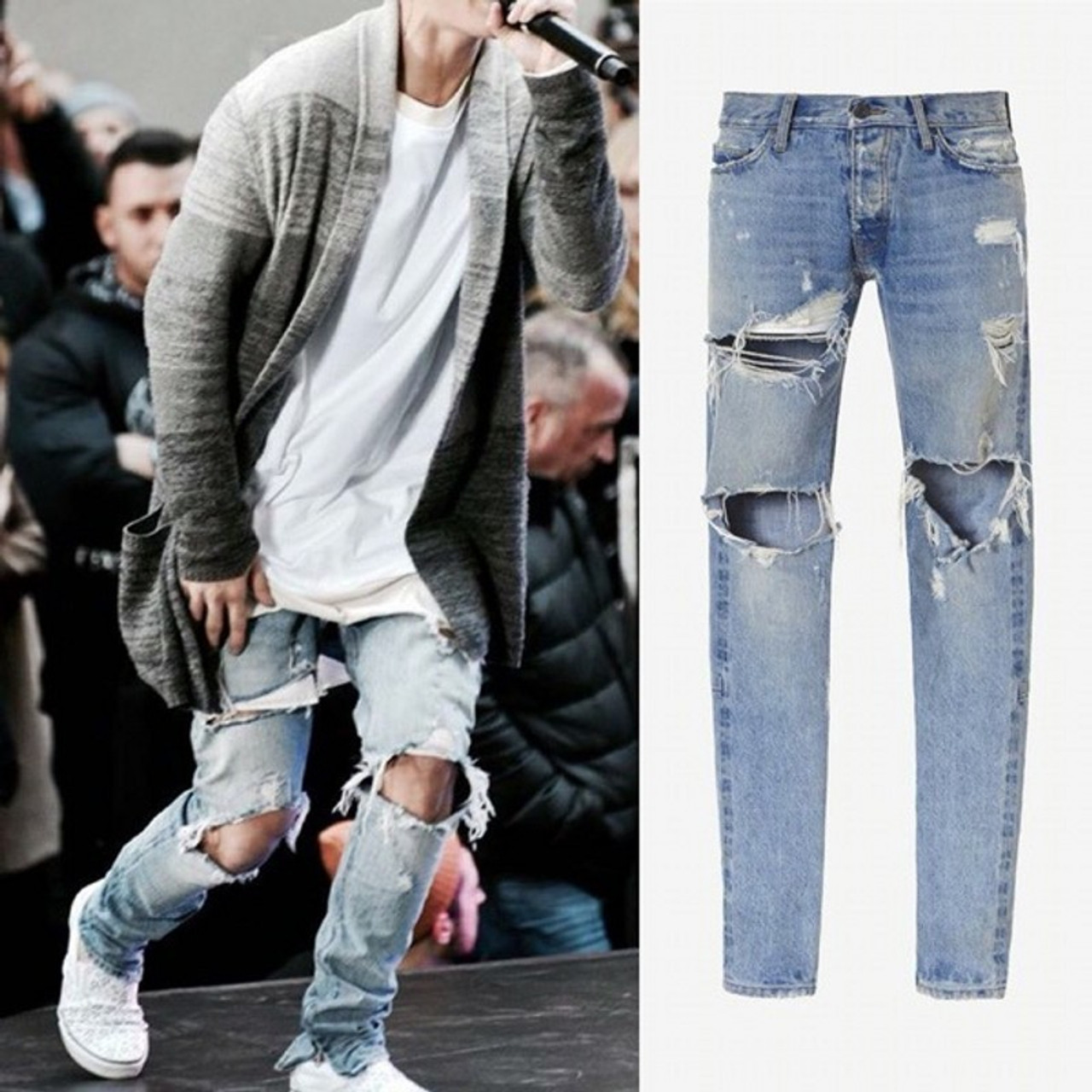 Kanye west fear of god boots jeans mens justin bieber for Mens shirts with cufflink holes