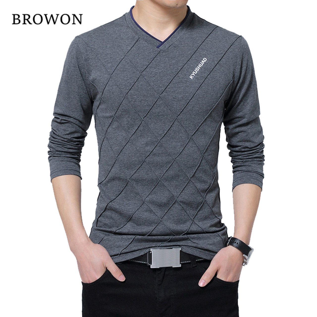 BROWON 2018 Fashion Men T-shirt Slim Fit Custom T-shirt