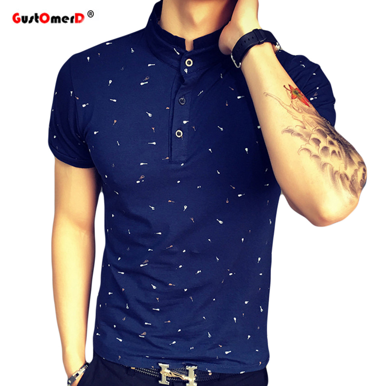 2017 Summer Guitar Printed Stand Collar Polo Shirt Men Short Sleeve Casual  Men Shirts Slim Fit ...
