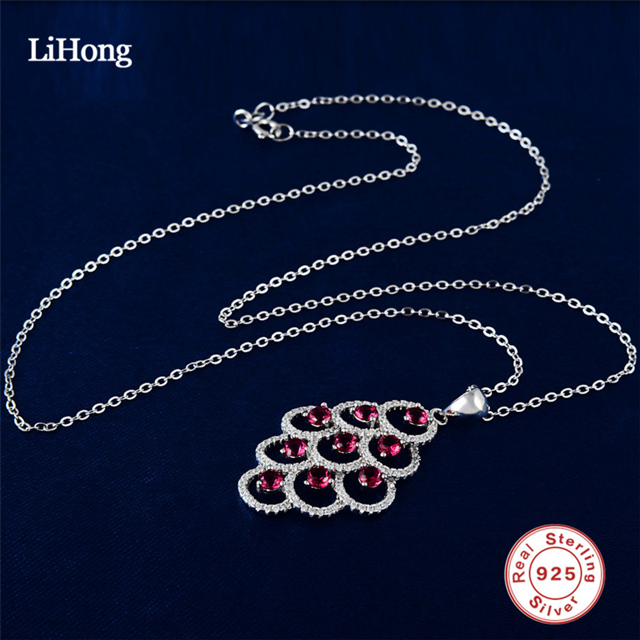 925 sterling silver red crystal leaves long pendant necklace aaaa 925 sterling silver red crystal leaves long pendant necklace aaaa quality woman pendants amp aloadofball Image collections