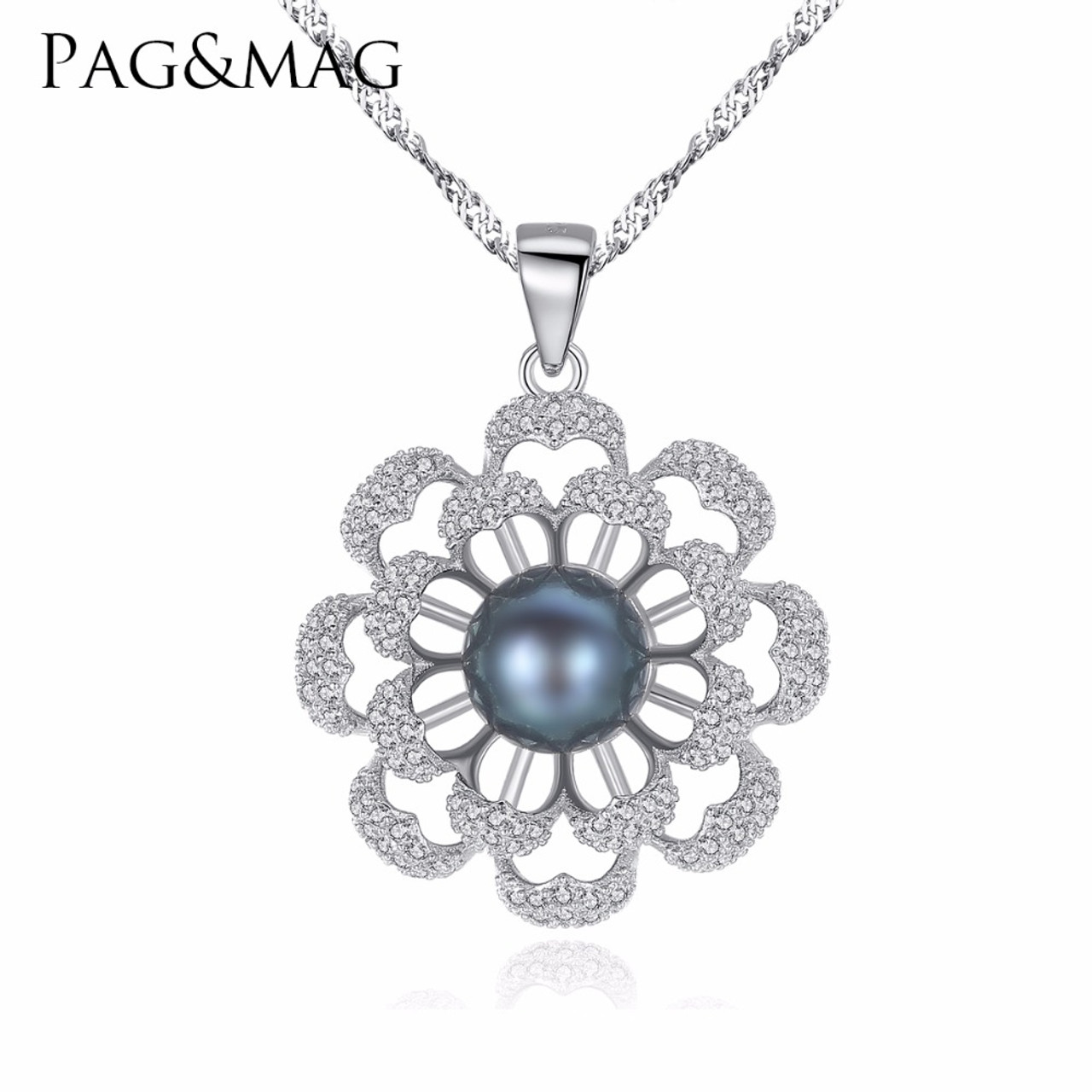 Pagampmag brand flower pearl 925 sterling silver necklaces amp pagampmag brand flower pearl 925 sterling silver necklaces amp pendants cubic zirconia women aloadofball Gallery
