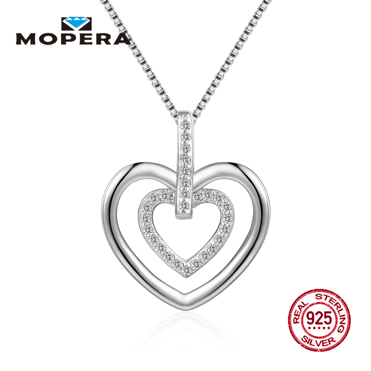 Mopera 100 real silver pendant necklace double love crystal mopera 100 real silver pendant necklace double love crystal pendant with chain 925 sterling women aloadofball Image collections