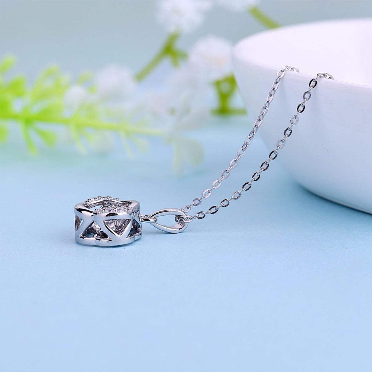 Yl flower 925 sterling silver topaz necklaces pendants for women yl flower 925 sterling silver topaz necklaces pendants for women fine jewelry natural dancing topaz stone mozeypictures Gallery