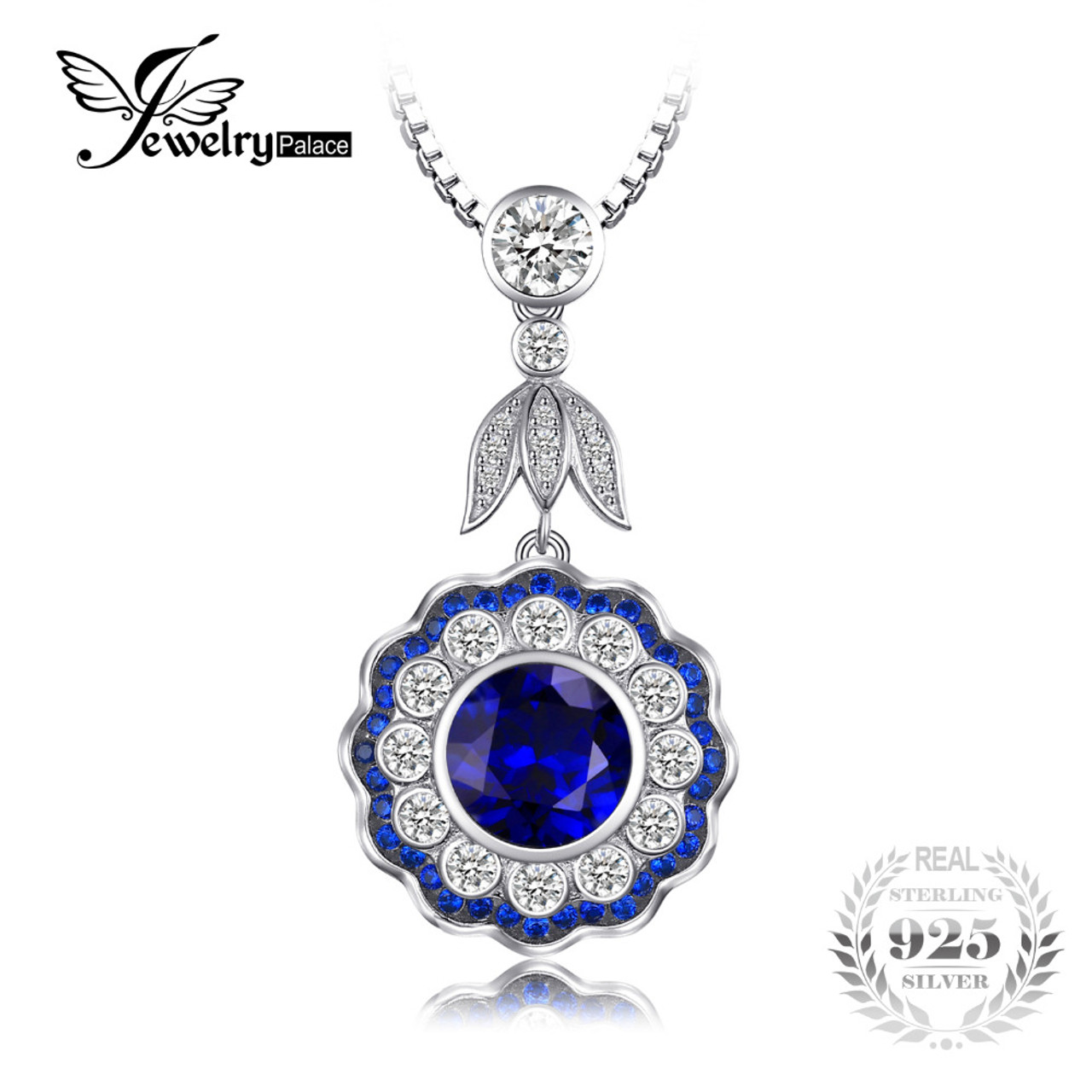 Jewelrypalace luxury 6ct created sapphire flower pendants necklaces jewelrypalace luxury 6ct created sapphire flower pendants necklaces for women genuine 925 sterling silver 45cm box aloadofball Choice Image