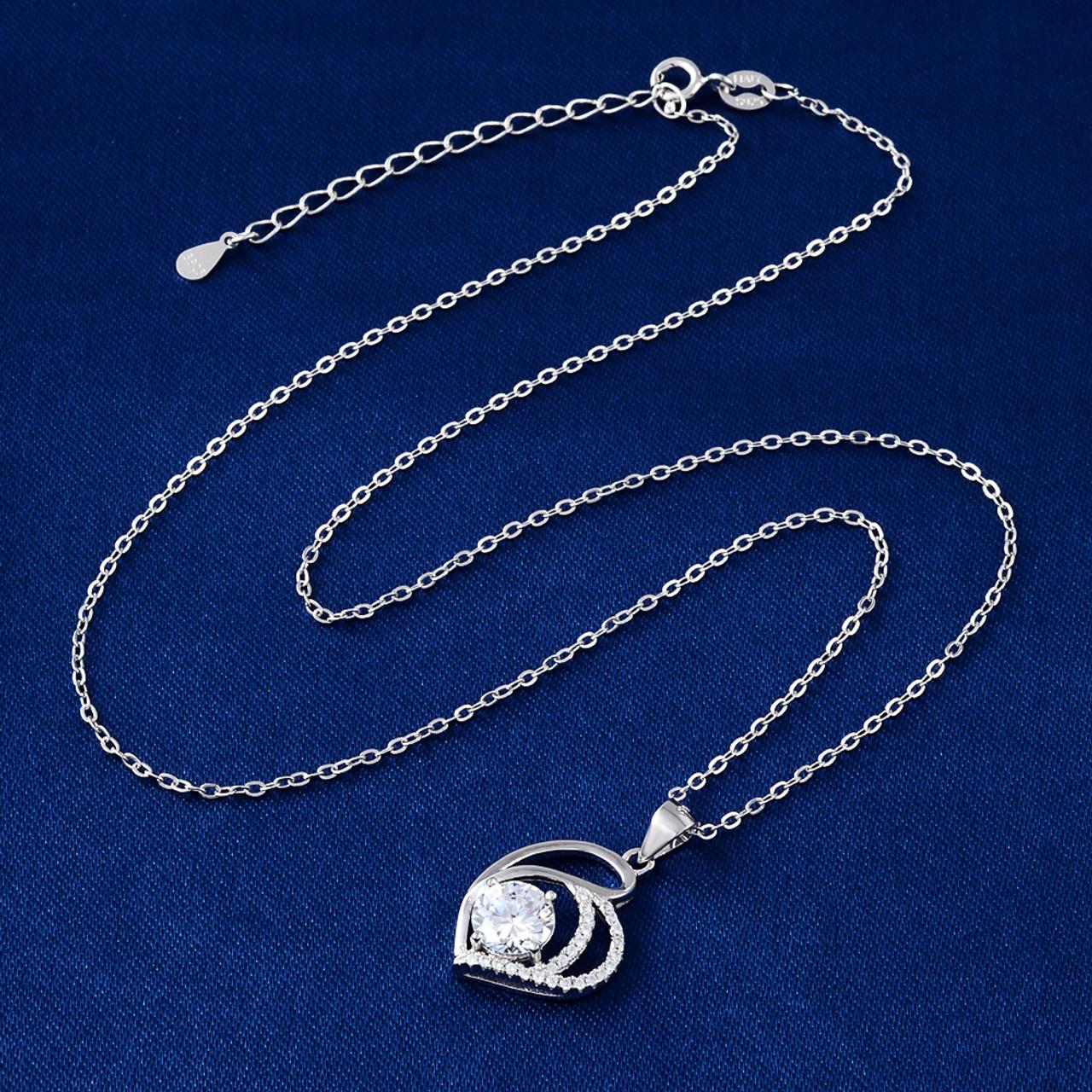 925 sterling silver necklace aaa zircon crystal love pendant silver 925 sterling silver necklace aaa zircon crystal love pendant silver chain woman jewelry fashion aloadofball Gallery