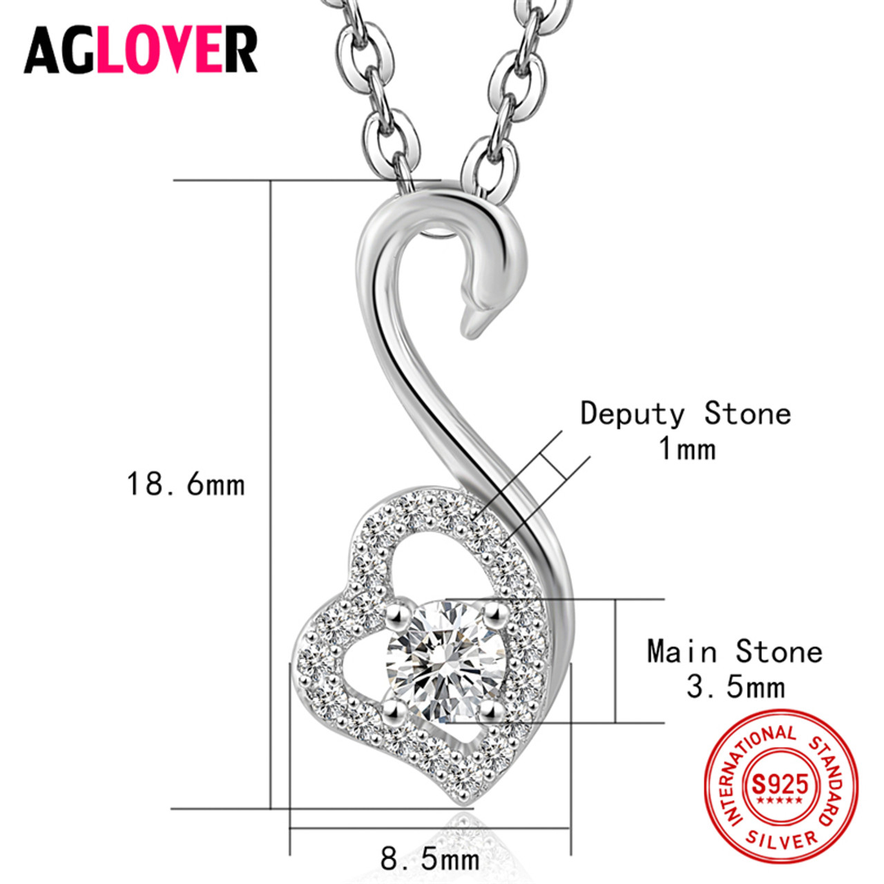 Charm heart necklace 100 sterling silver woman fashion swan charm heart necklace 100 sterling silver woman fashion swan pendant 925 silver necklace high quality aloadofball Image collections