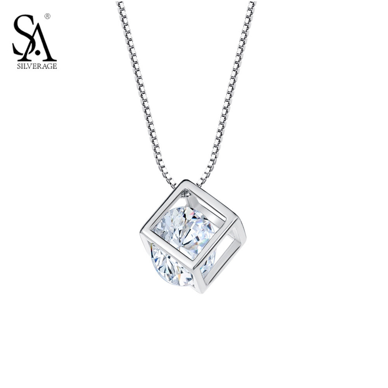 Sa silverage silver pendant cube 925 sterling silver jewelry with sa silverage silver pendant cube 925 sterling silver jewelry with cz women fashion necklaces amp mozeypictures Choice Image