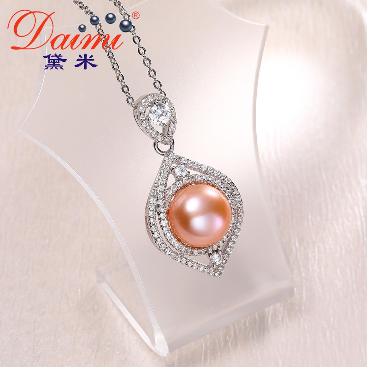 Daimi shiny crystal pink pearl pendant 95 10mm big freshwater daimi shiny crystal pink pearl pendant 95 10mm big freshwater pearl necklace 925 sterling silver aloadofball Image collections