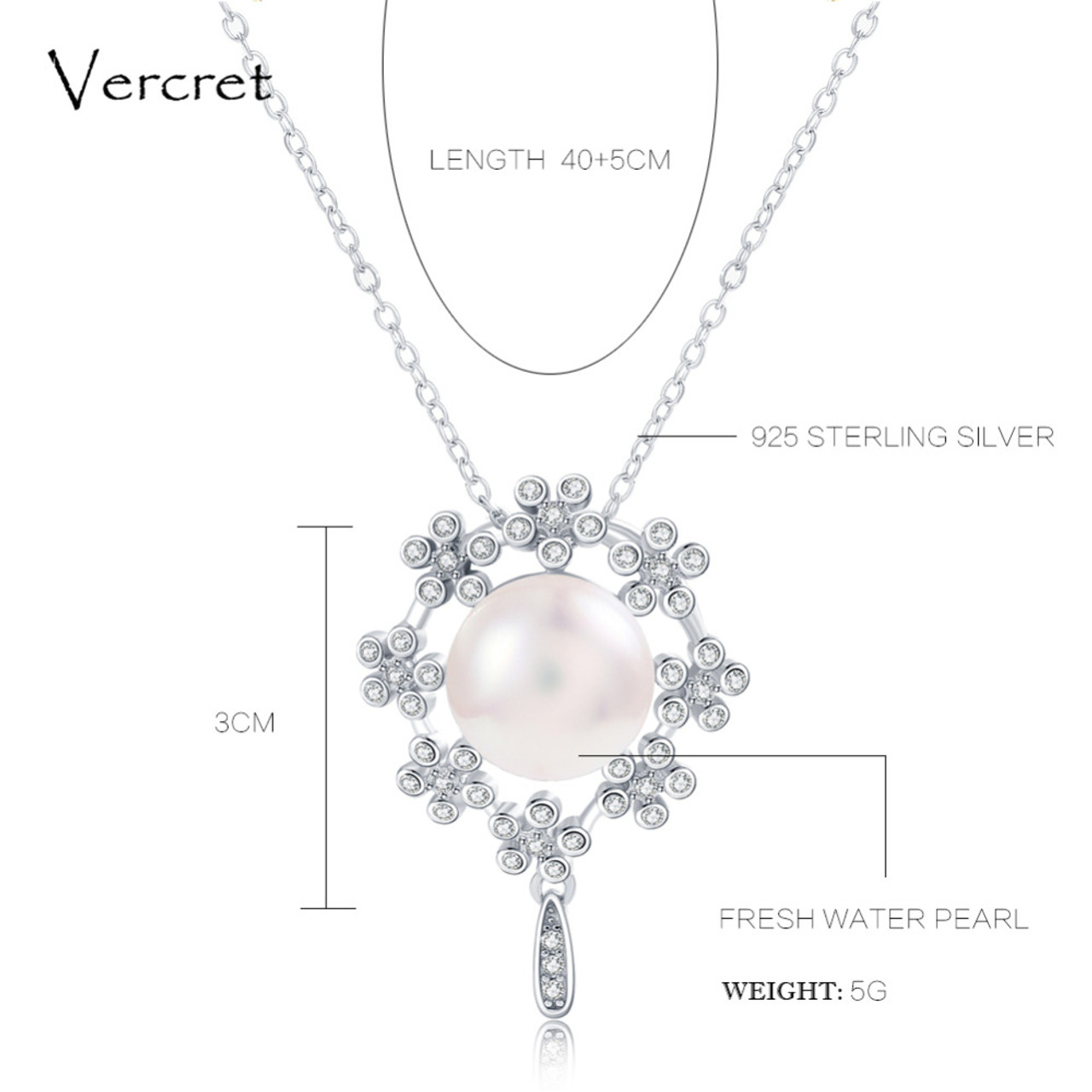 Vercret freshwater pearl pendant necklace with crystal in 925 vercret freshwater pearl pendant necklace with crystal in 925 sterling silver garland pearl jewelry wedding gift mozeypictures Image collections