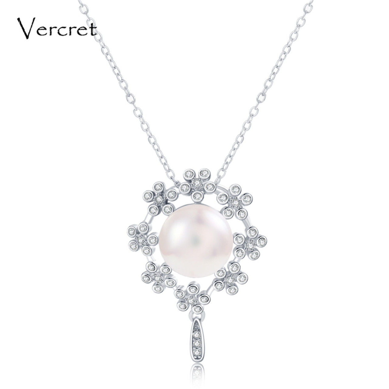 Vercret freshwater pearl pendant necklace with crystal in 925 vercret freshwater pearl pendant necklace with crystal in 925 sterling silver garland pearl jewelry wedding gift aloadofball Gallery
