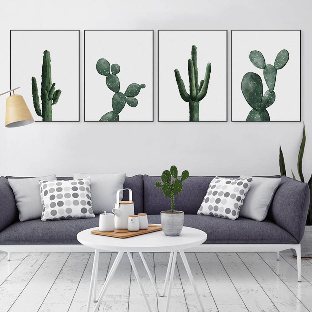 Nordic Watercolor Green Cactus Plant Poster Print Hipster Floral ...