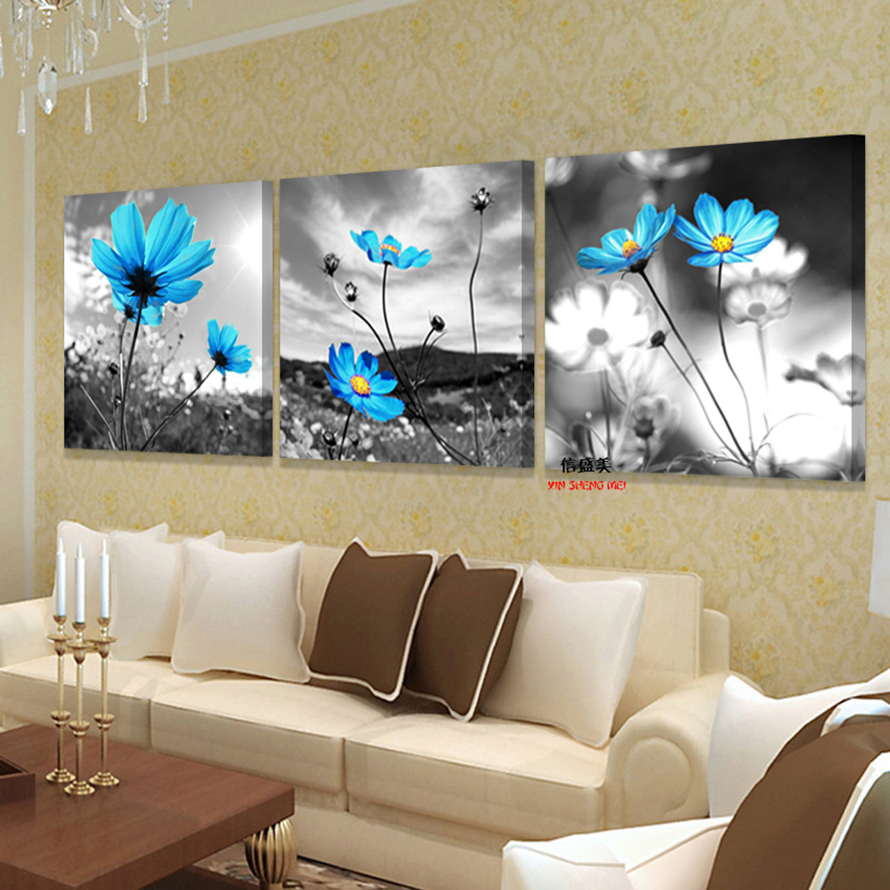 3 Piece Hd Print Canvas Modern Schilderij Flowers Oil Paintings Painting Wall Art Bedroom Cuadros Decoracion ... & 3 Piece Hd Print Canvas Modern Schilderij Flowers Oil Paintings ...