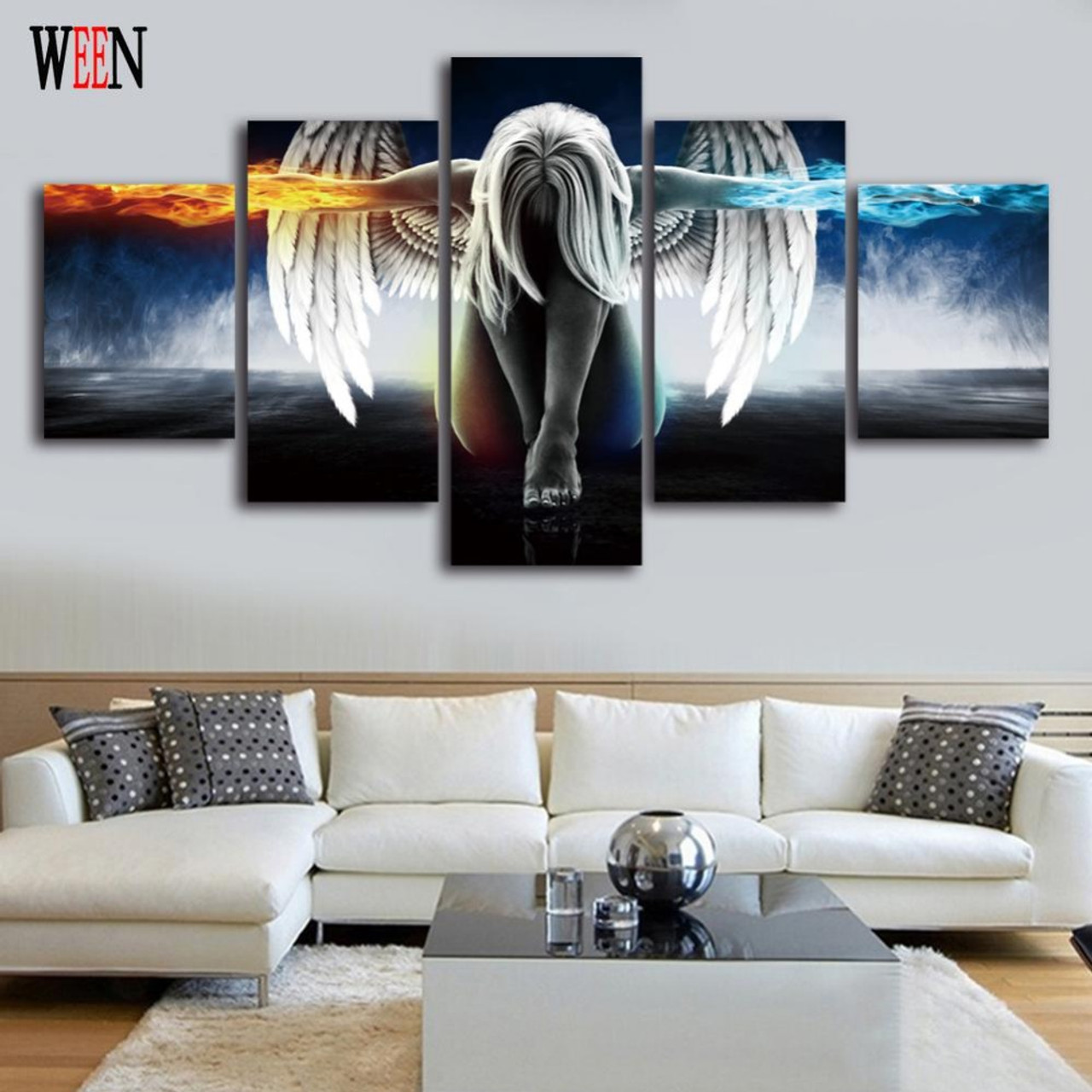 WEEN Angel Cuadros Decoracion 5 piece Wall Pictures Canvas Art For ...