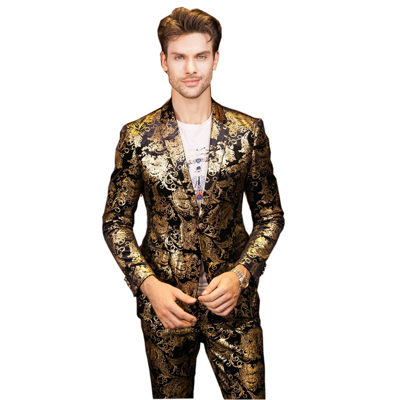 Plyesxale Men Suits For Wedding 2018 Luxury Brand Black Gold Tuxedo ...