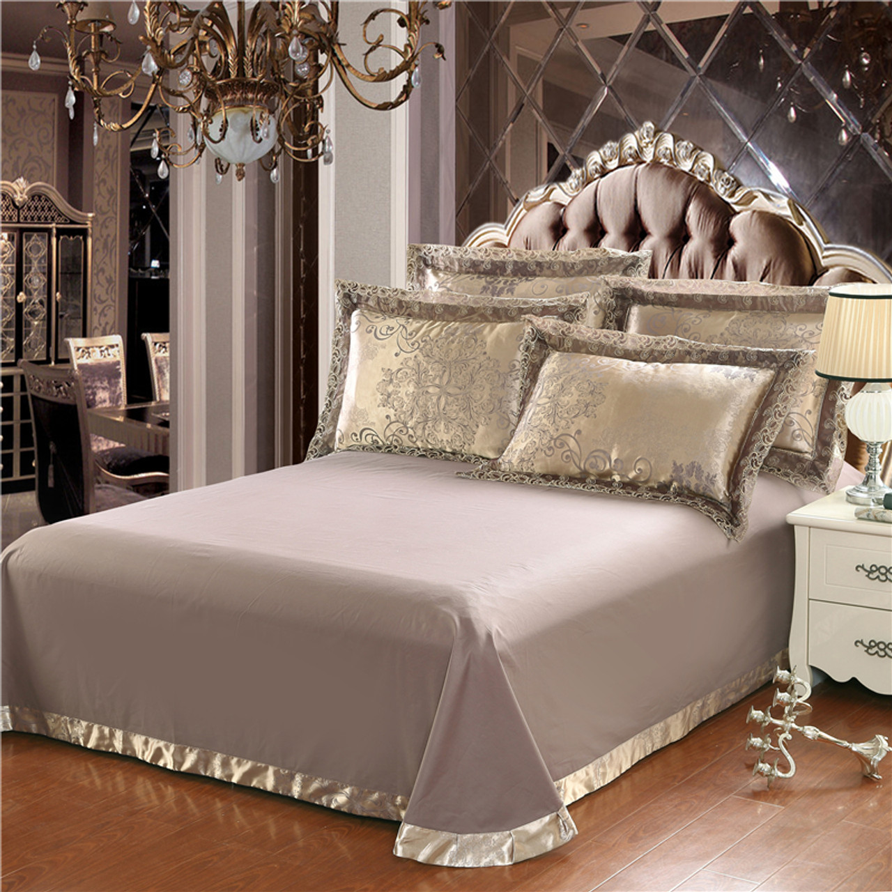 ... Gold Silver Coffee Jacquard Luxury Bedding Set Queen/king Size Stain Bed  Set 4pcs Cotton ...