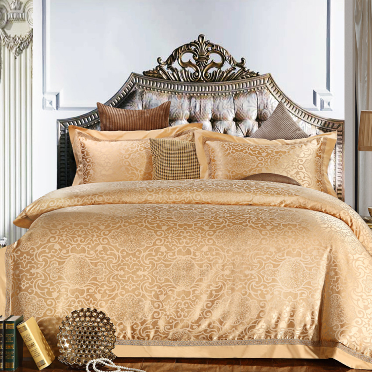 blue purple gold luxury jacquard bedding set cotton bed cover bed