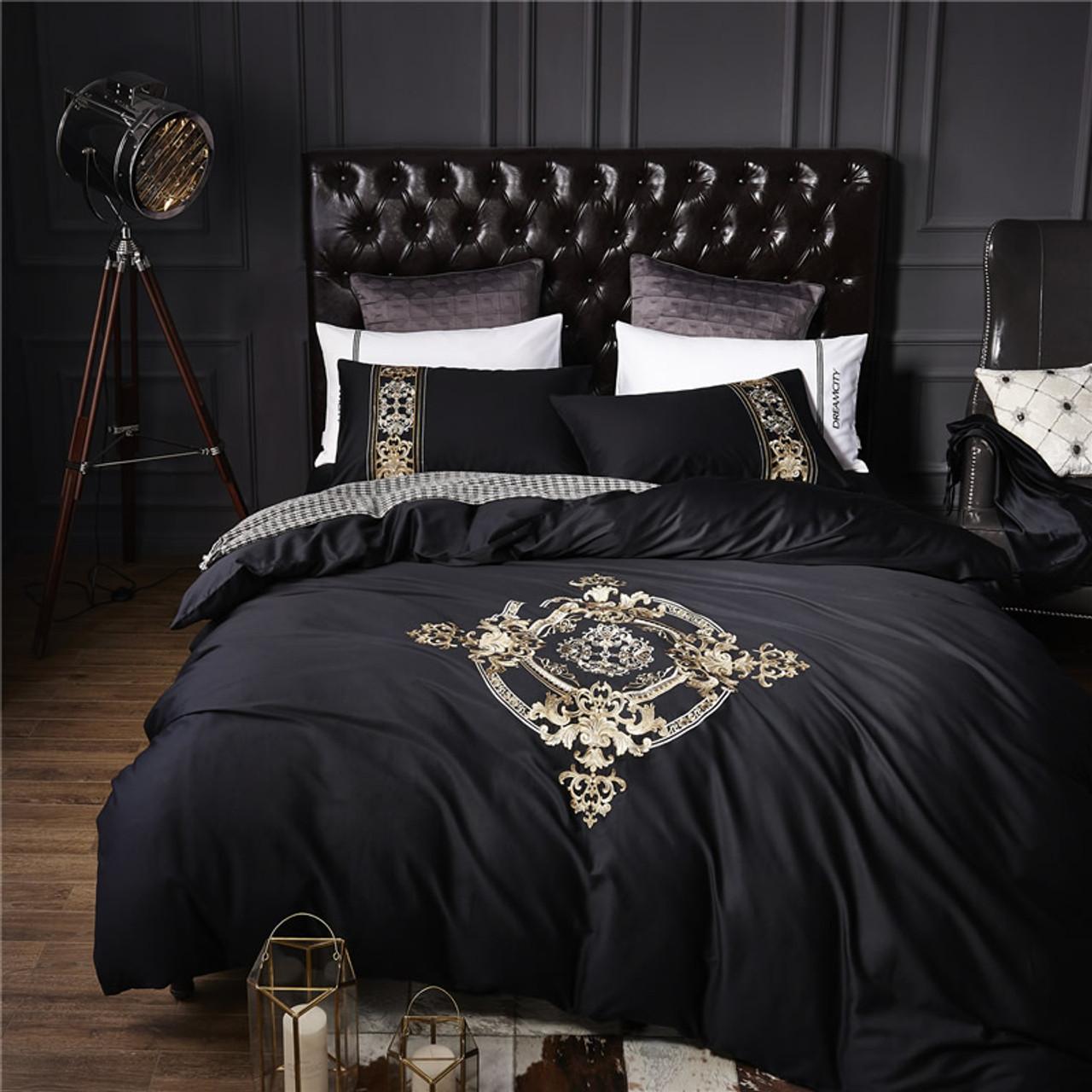 4Pcs 100% Cotton Black White Silver Luxury Bedding Sets/Bedclothes King Queen  Size Duvet ...