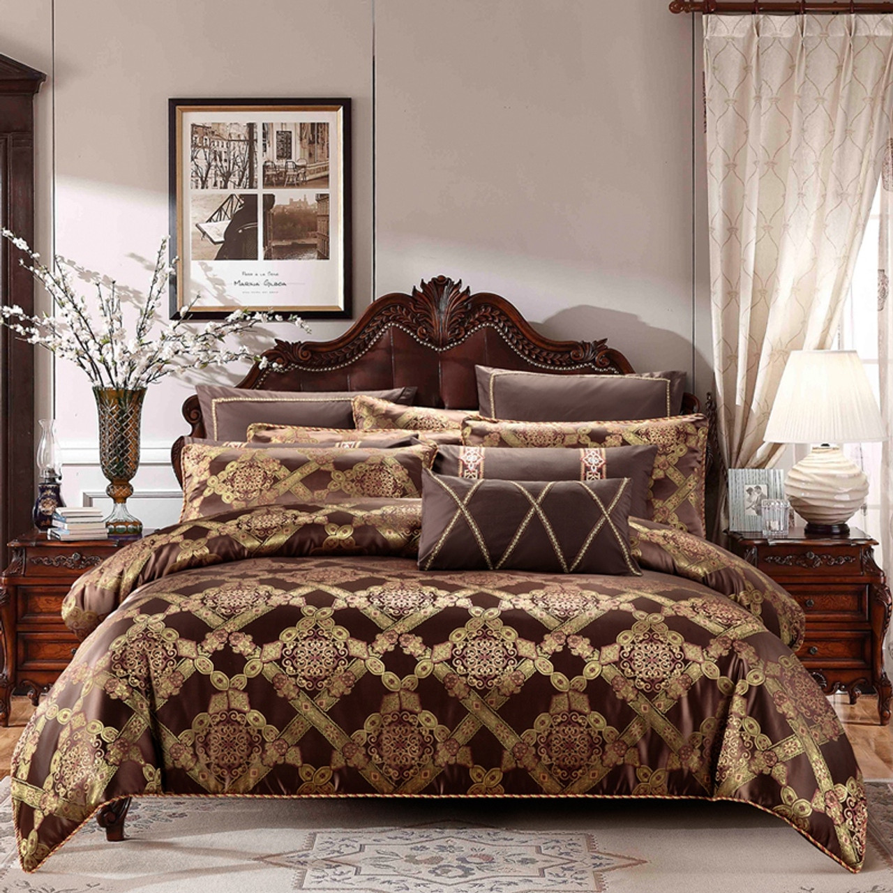 Gold Coffee Color Cotton Stain Bedding Set King Queen Size 4 6 9pcs Luxury