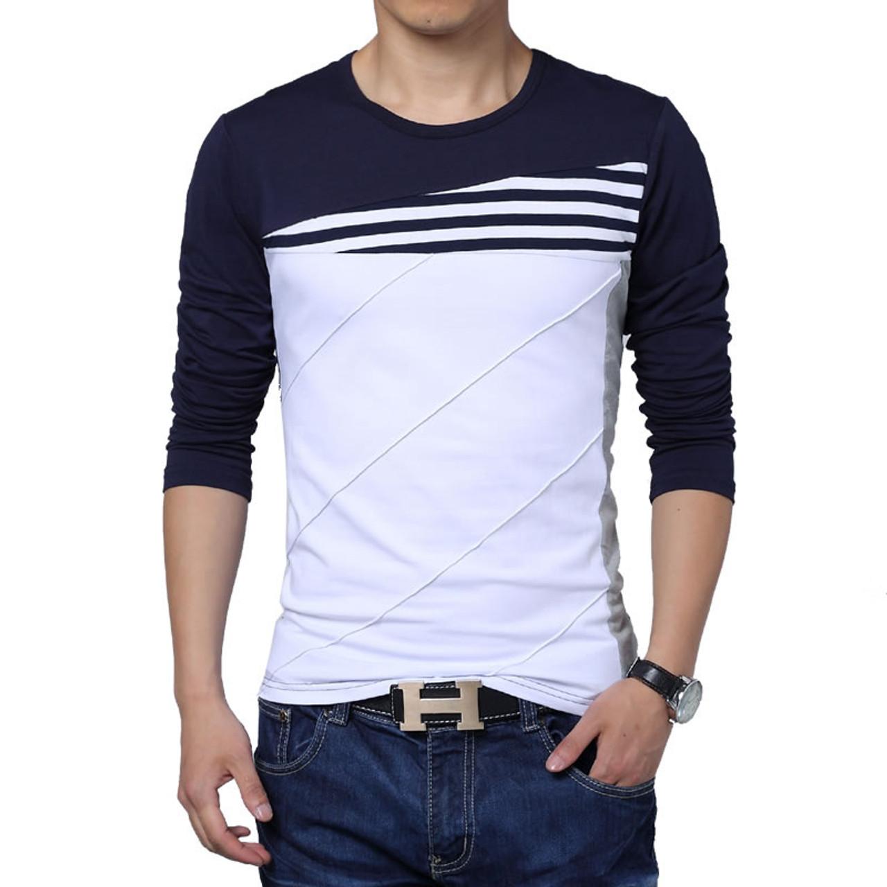 T shirt men 2018 winter new long sleeve o neck t shirt men for Men s t shirt top brands