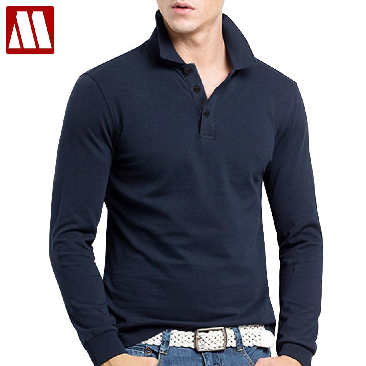 2018 new fashion brand men clothes solid color long sleeve for Long sleeve cotton tee shirts