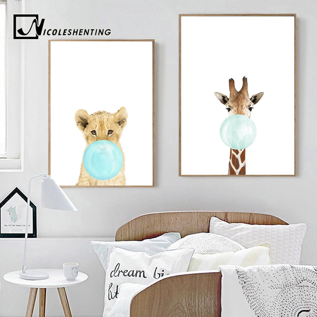 ... NICOLESHENTING Baby Animal Zebra Girafe Canvas Poster Nursery Wall Art  Print Painting Nordic Picture Children Bedroom ...