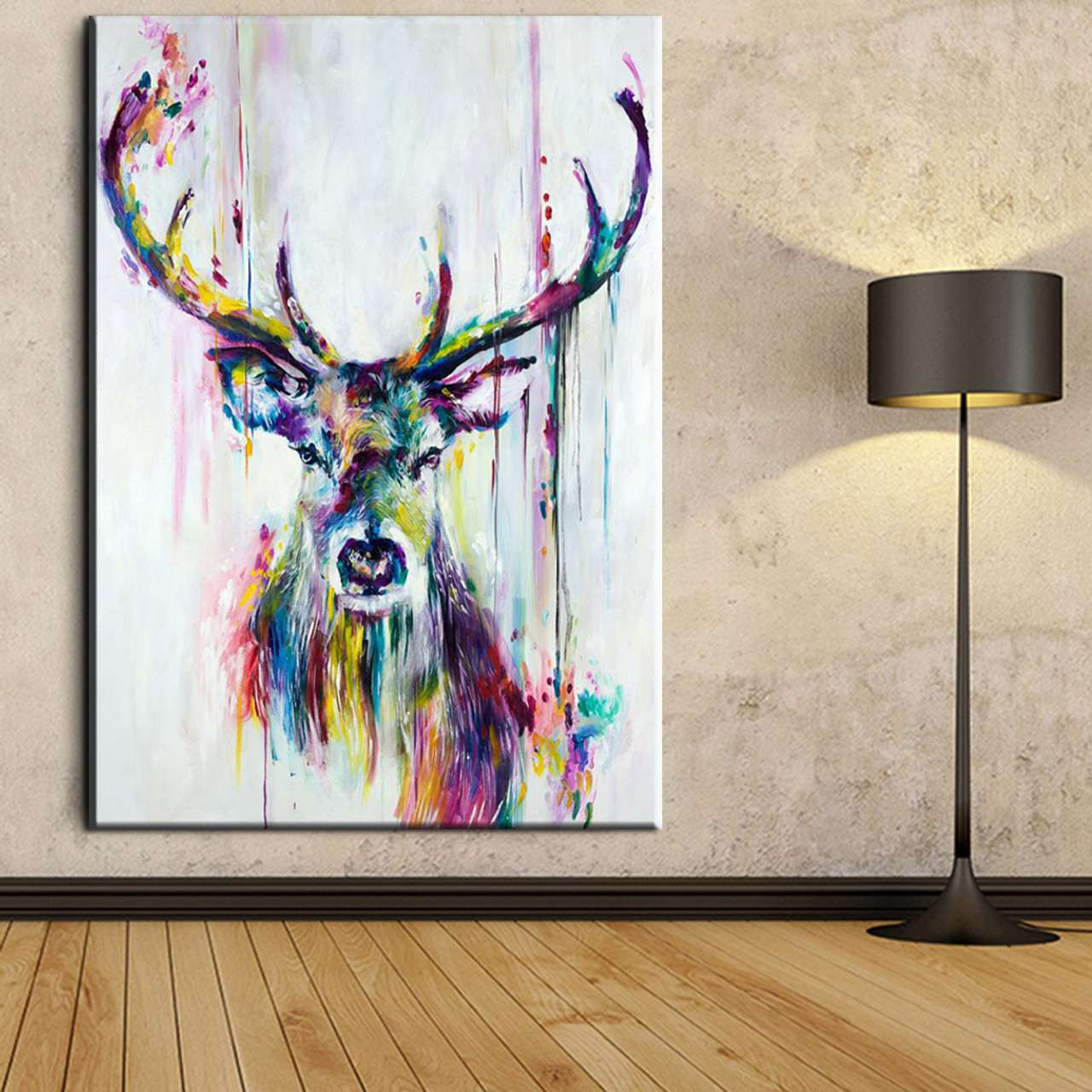 xh181 Big Triptych Watercolor Deer Head Posters Print Abstract ...