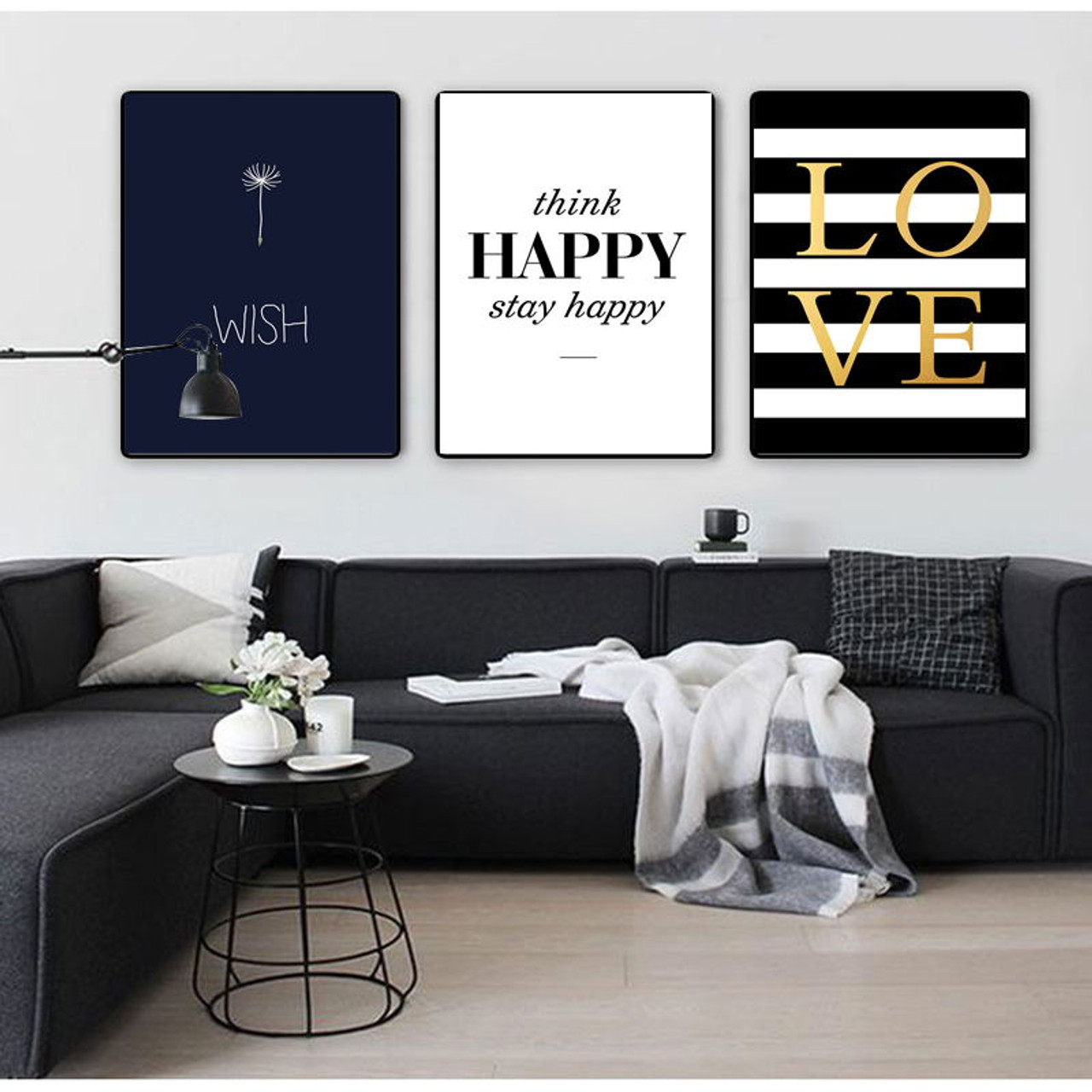 Colorfulboy modern happy quotes canvas painting black white wall pictures for kids room wall art posters