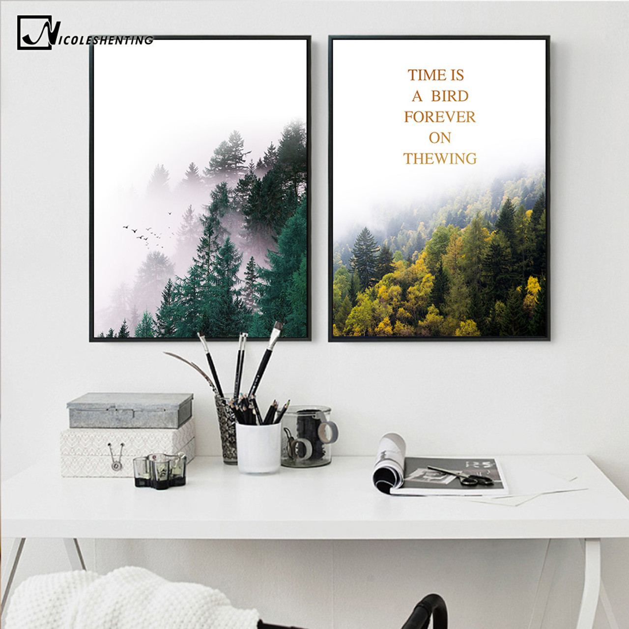 nordic style forest trees nature poster print motivational. Black Bedroom Furniture Sets. Home Design Ideas