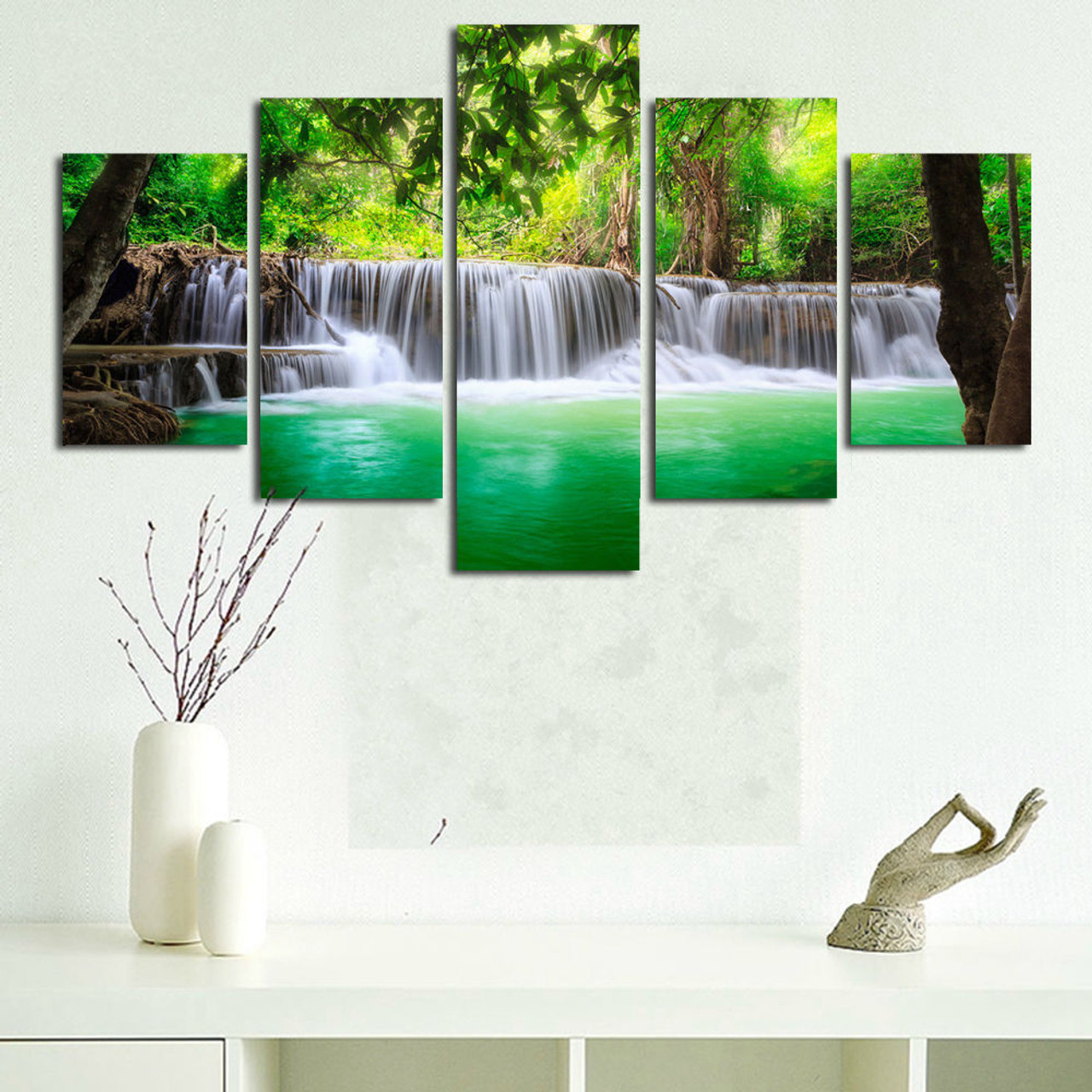 BANMU 5 Panel Waterfall Painting Canvas Wall Art Picture Home ...