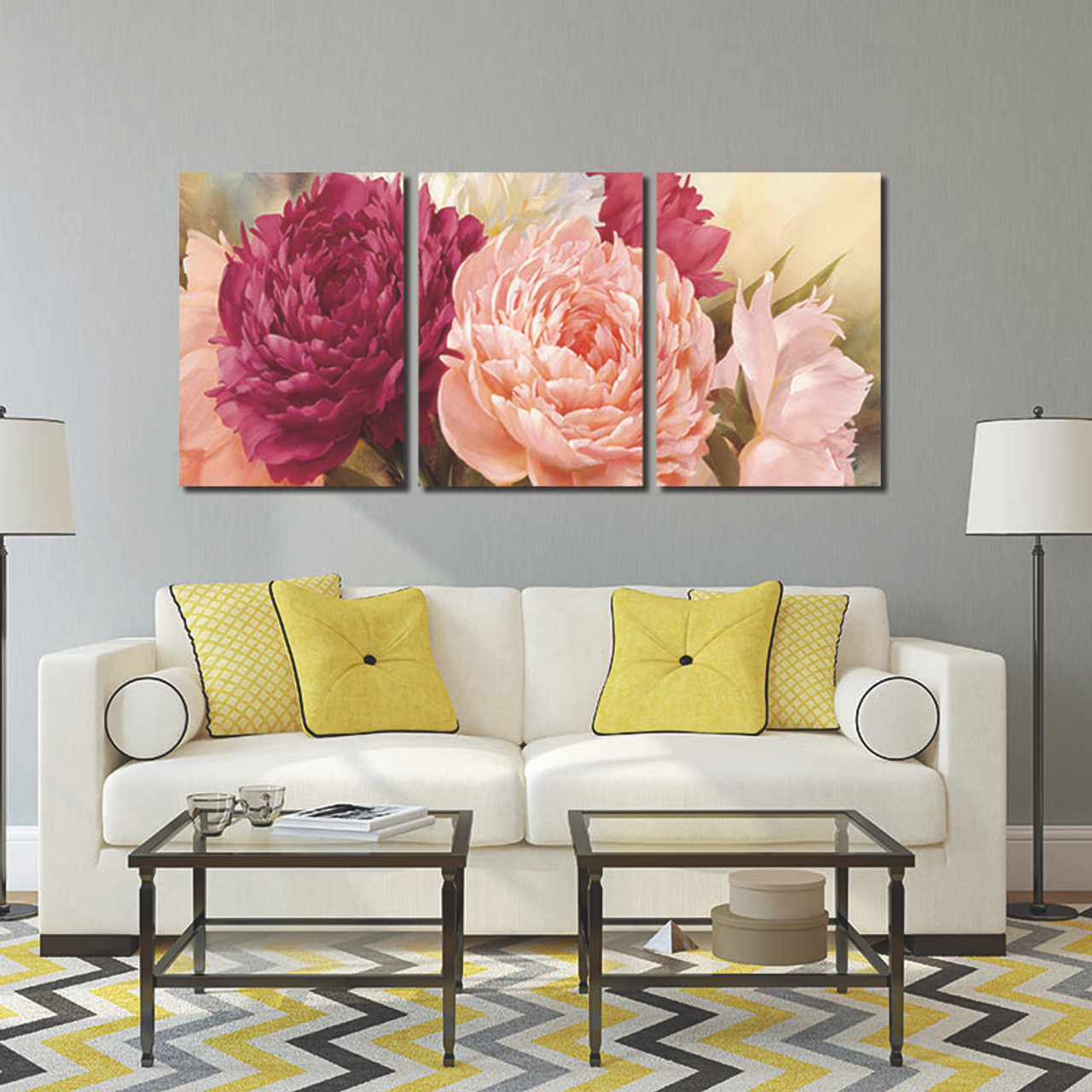 ... 3 Panel Pictures Canvas Painting Wall Art Peony Flower Painting Wall  Art Decorative Canvas Wall Art ...