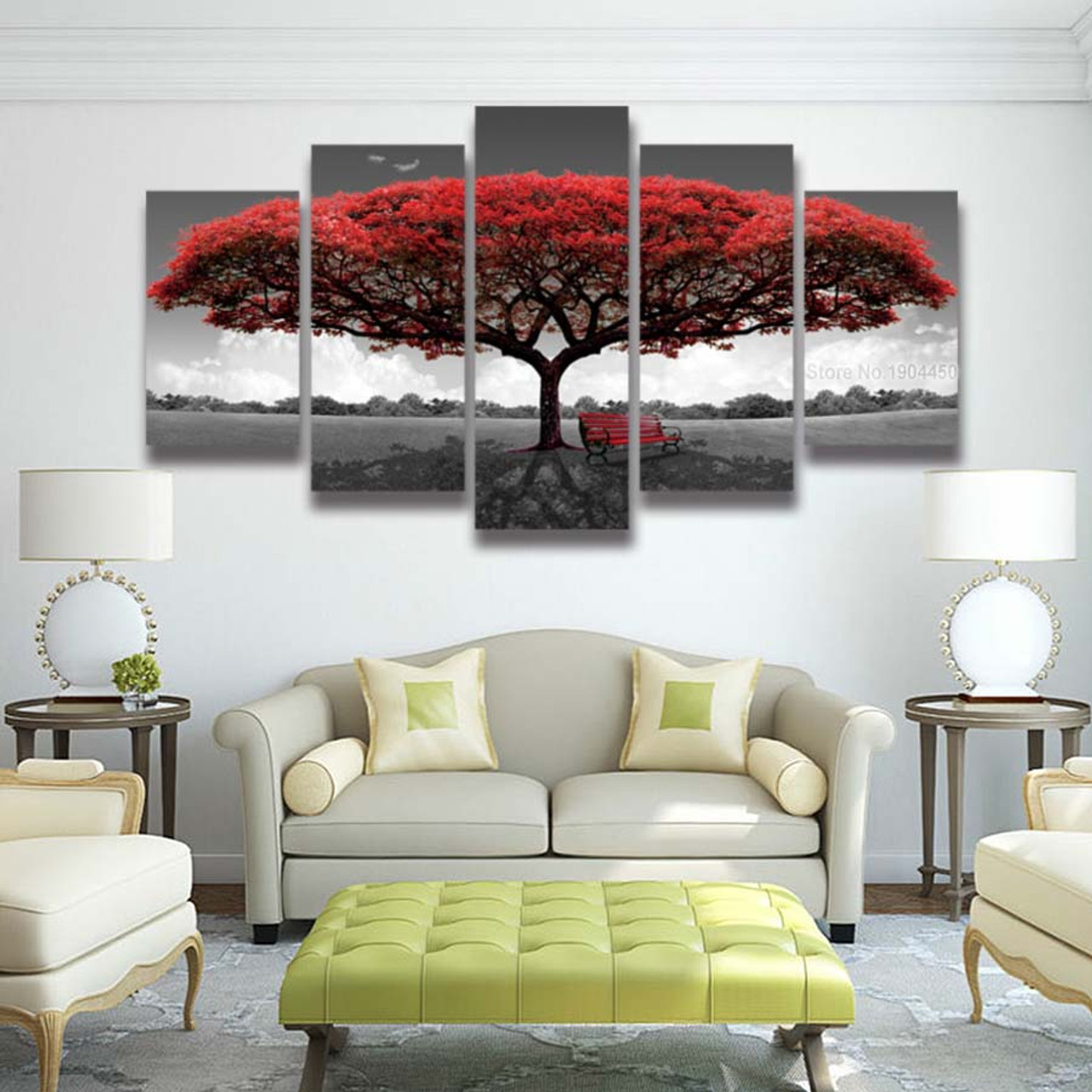 5 panel Printed red tree art scenery landscape modular picture large ...