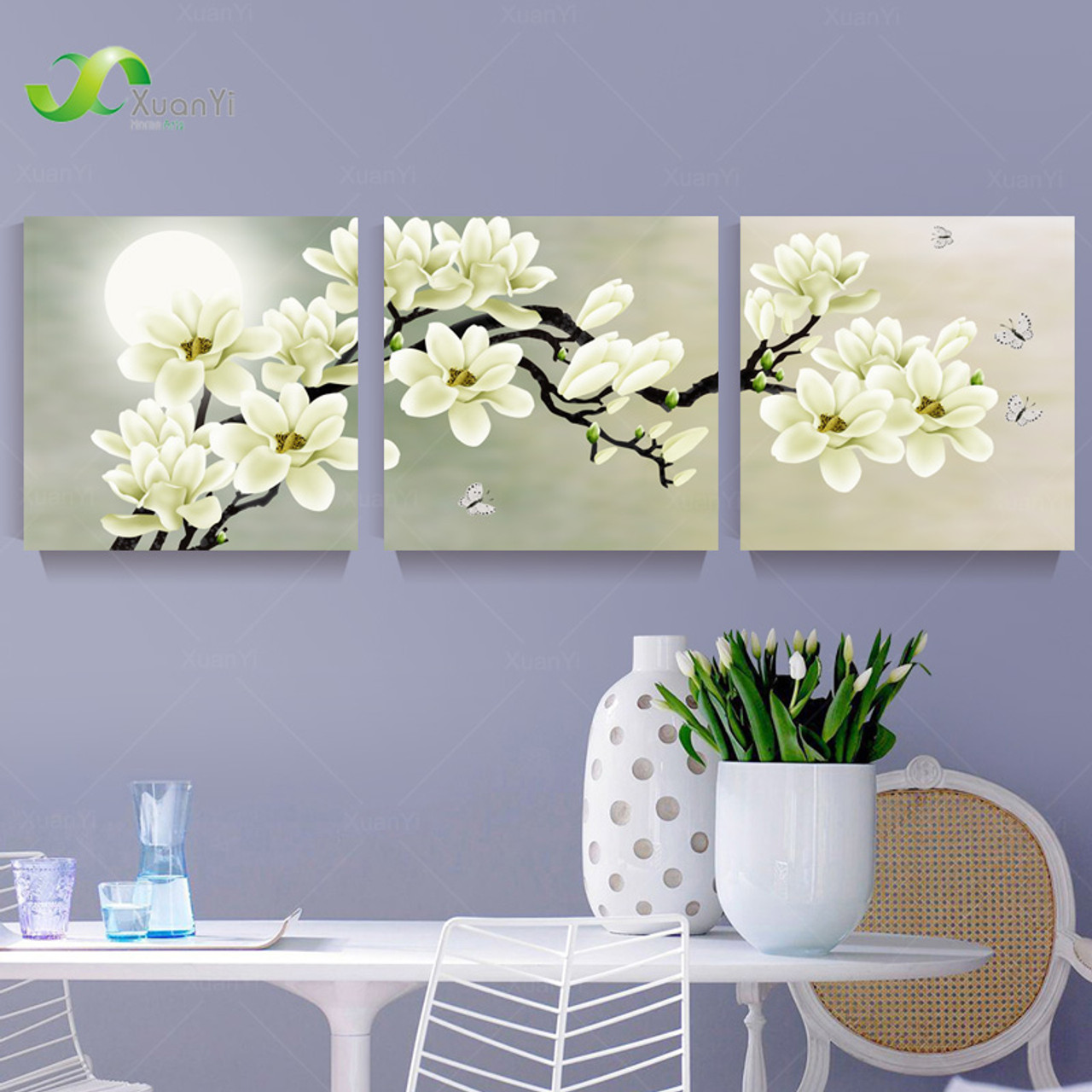 3 Panel Orchid Flowers Wall Art Pictures Flower Canvas Painting For Living Room Home Decoration