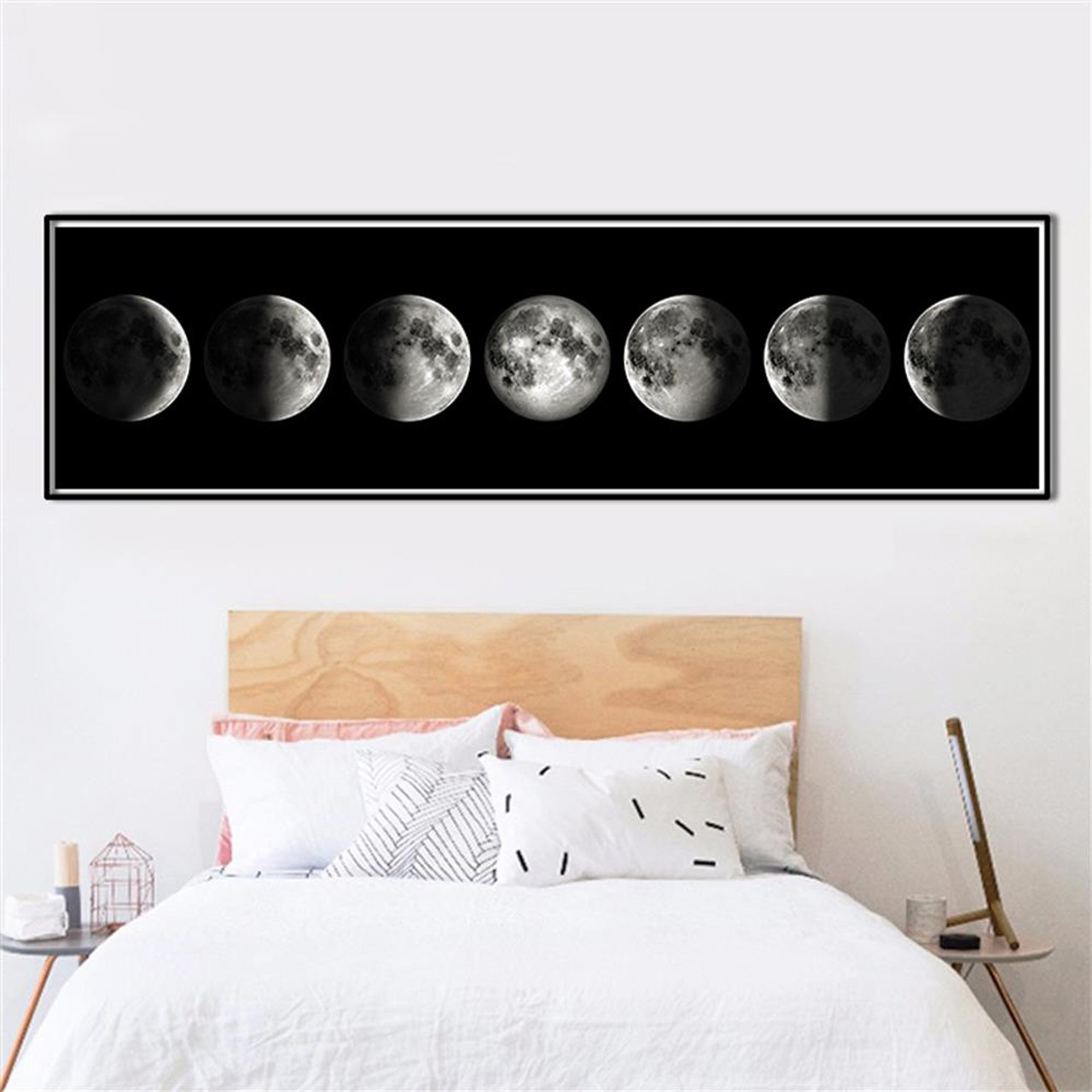 The Moon Phase Black White Posters Canvas Art Prints Nordic Wall Art  Abstract Painting Wall Picture ...