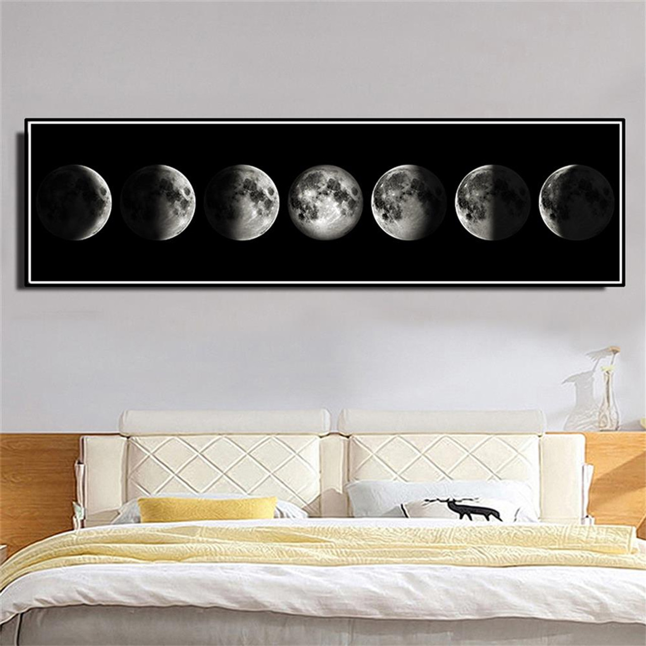 ... The Moon Phase Black White Posters Canvas Art Prints Nordic Wall Art  Abstract Painting Wall Picture ...